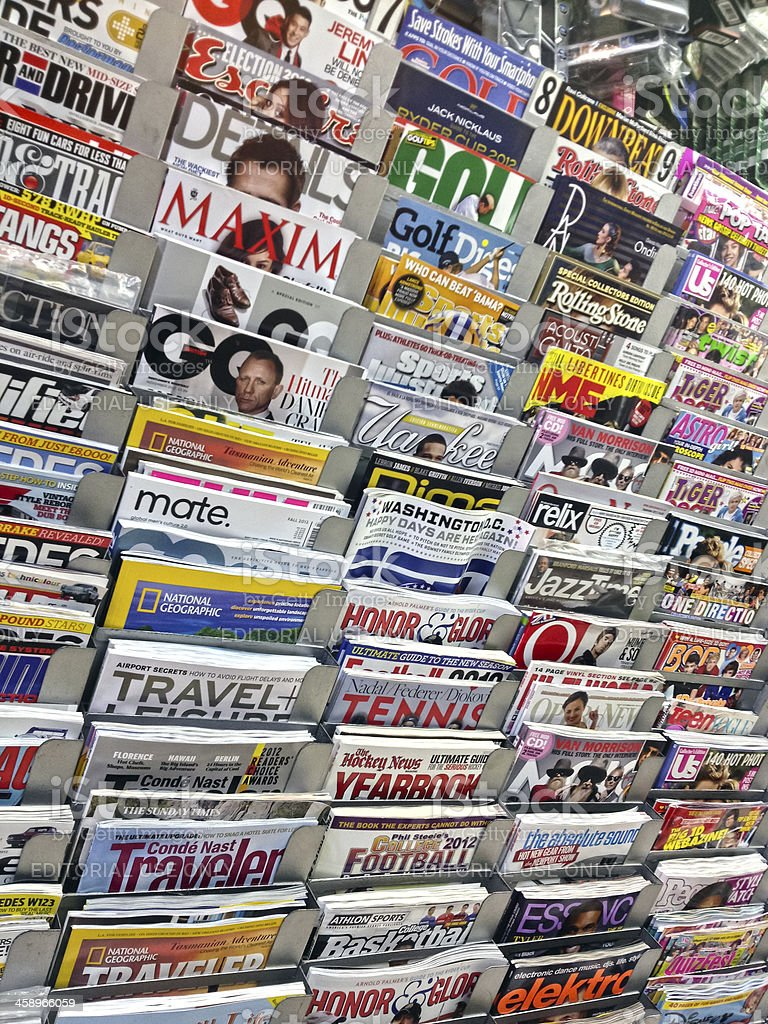 News Stand with Magazines in New Yrok City stock photo