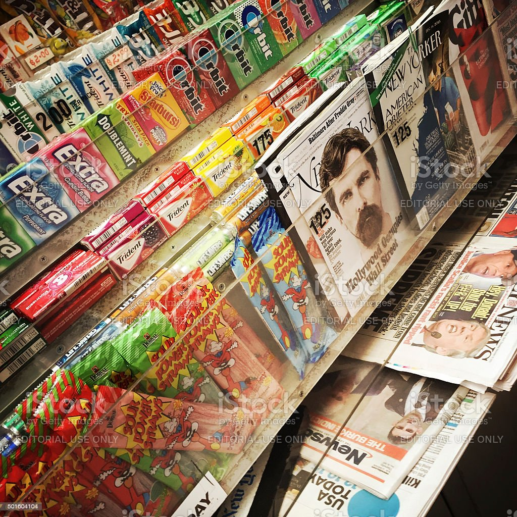 News Stand with Papers and Candy stock photo