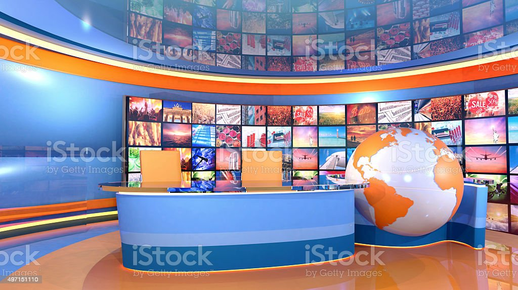 News television studio virtual set with world map stock photo
