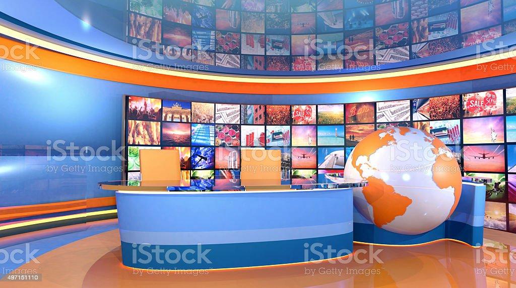 News television studio virtual set with world map stock photo