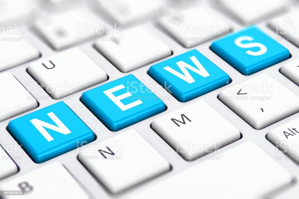 News text word on computer keyboard keys stock photo