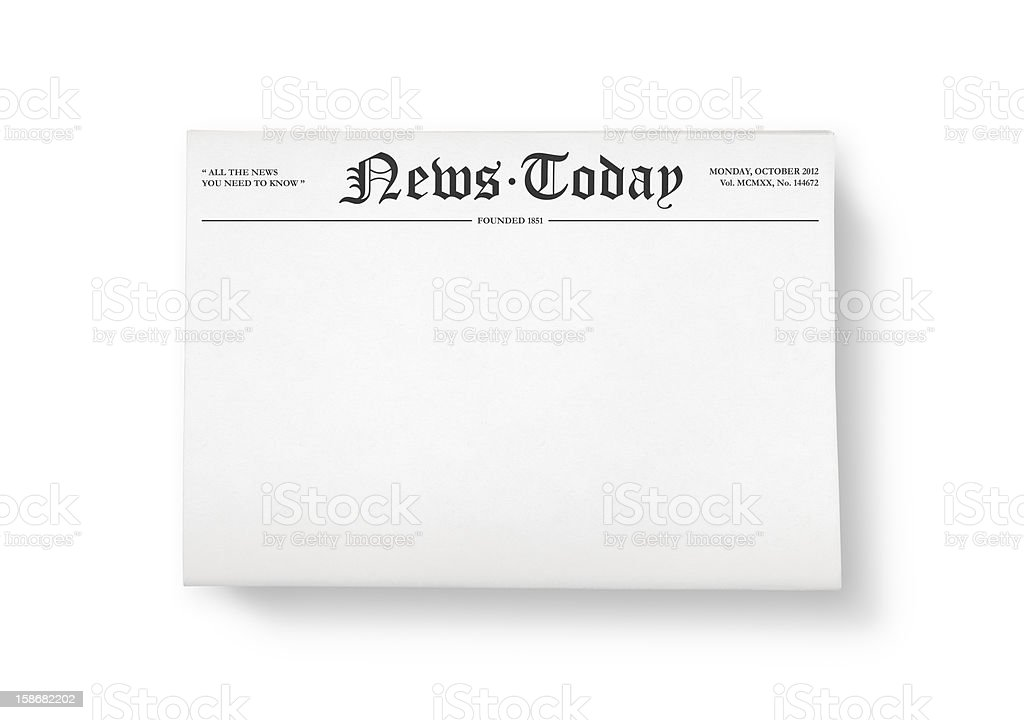 News today with blank space stock photo