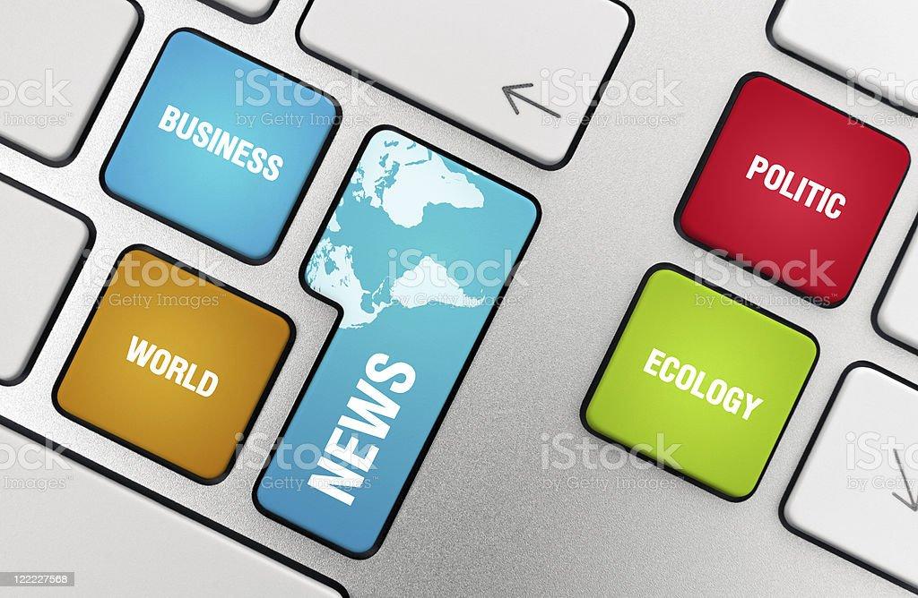 News Topics On The Keyboard Keys royalty-free stock photo