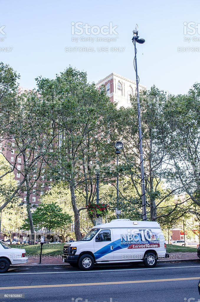 NBC News truck with TV antenna park in street stock photo