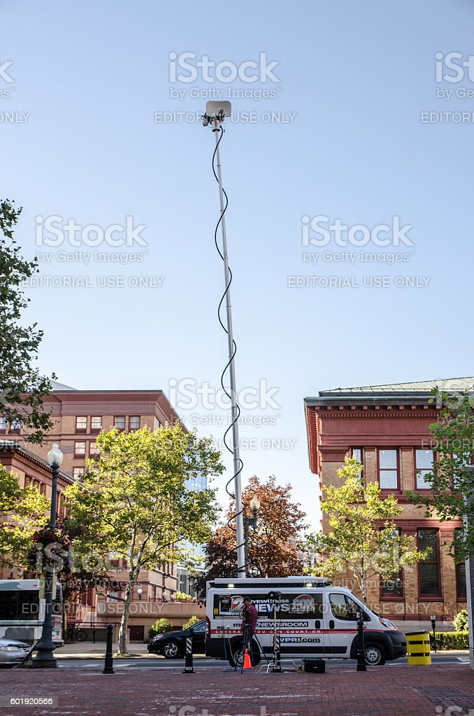 FOX News truck with TV antenna park in street stock photo
