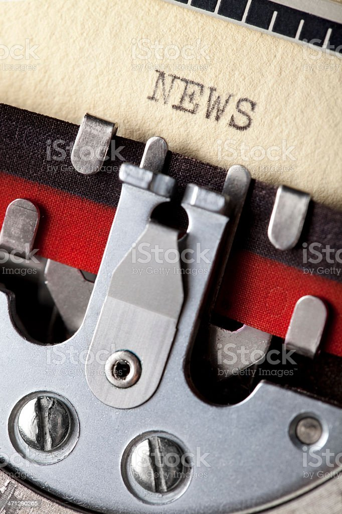 'News' typed using an old typewriter royalty-free stock photo