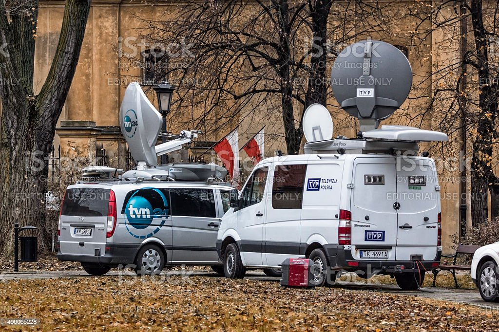 TV News Vans stock photo