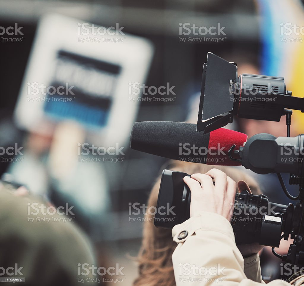 News Videographer at Protest stock photo