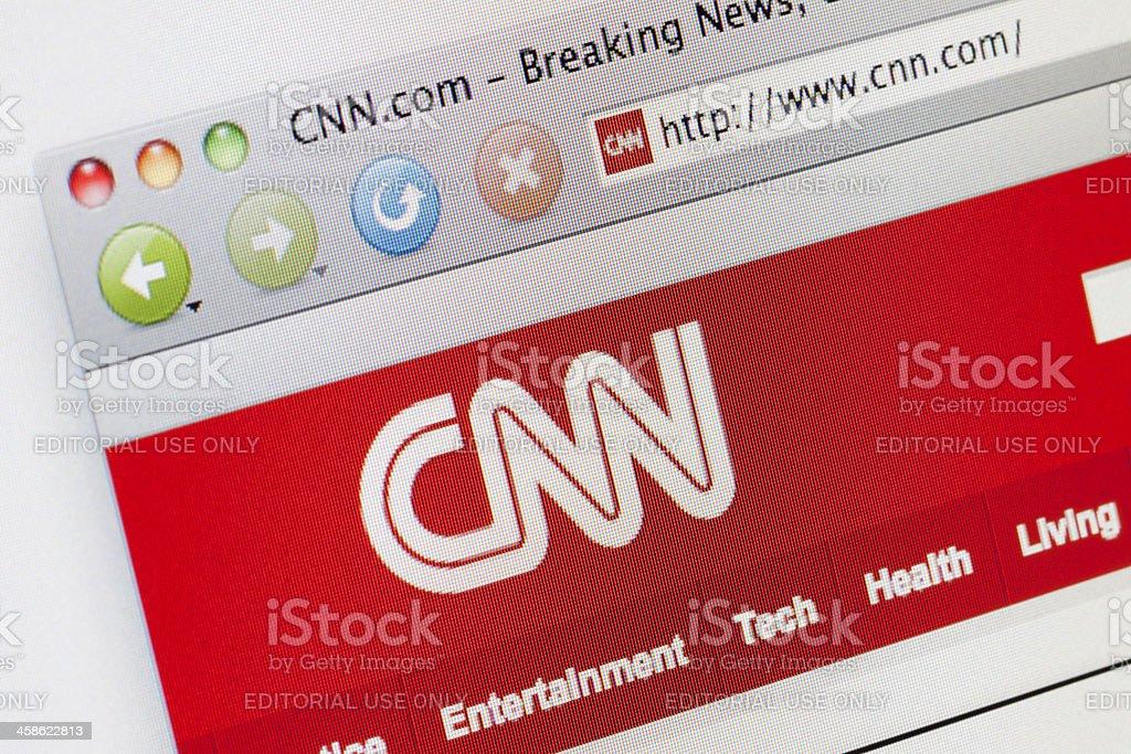 CNN news webpage on a web browser. stock photo
