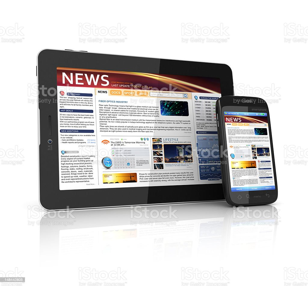 news webpage stock photo