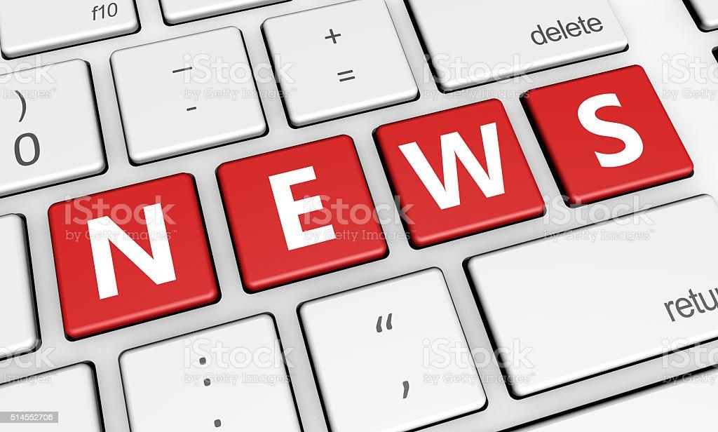 News Word On Computer Keyboard stock photo