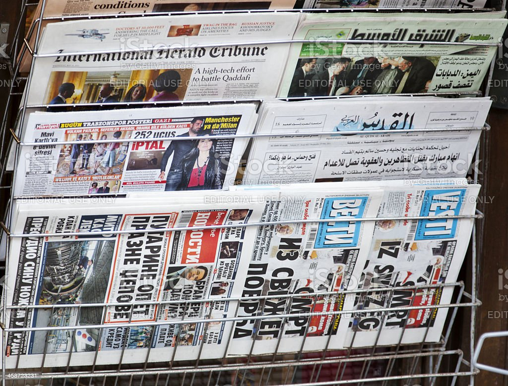 Newsagent with international papers. royalty-free stock photo