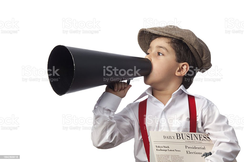Newsboy holding paper and shouting on megaphone stock photo