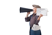 Newsboy holding paper and Shouting With Megaphone
