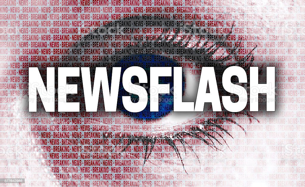 newsflash eye looks at viewer concept stock photo