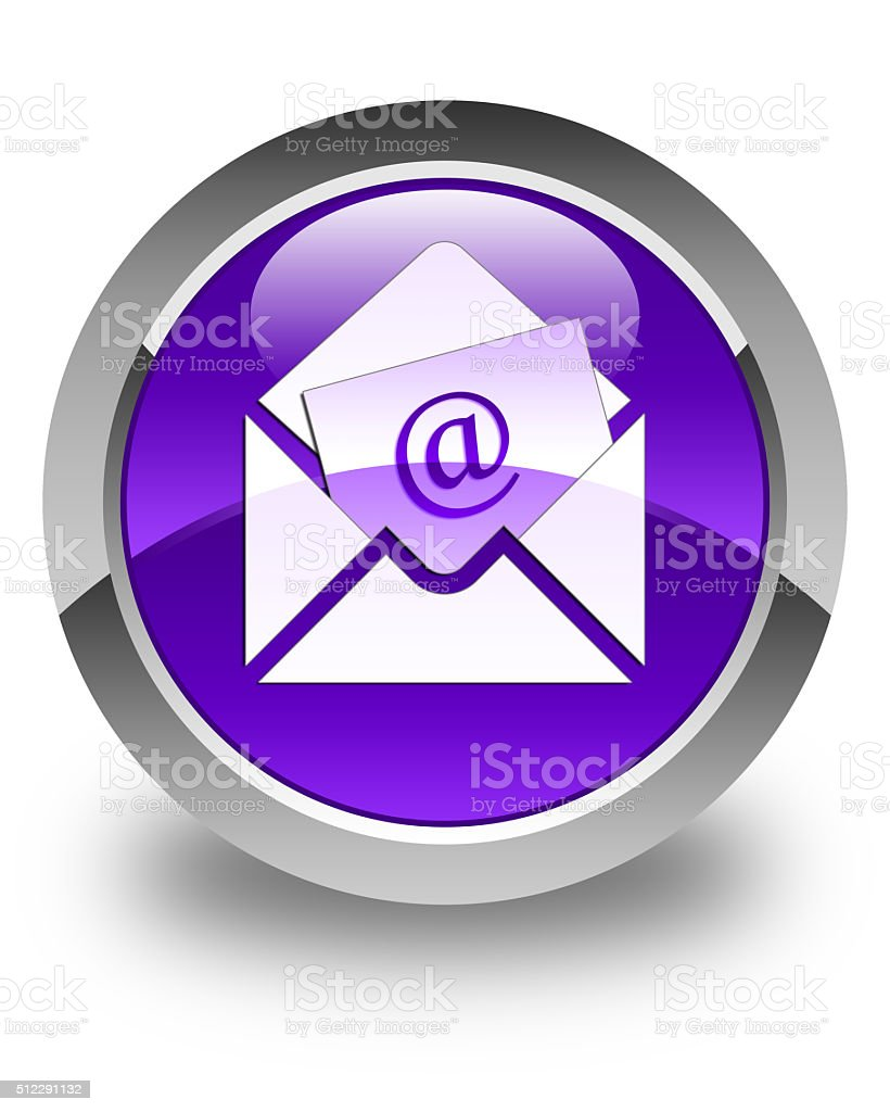 Newsletter email icon glossy purple round button stock photo