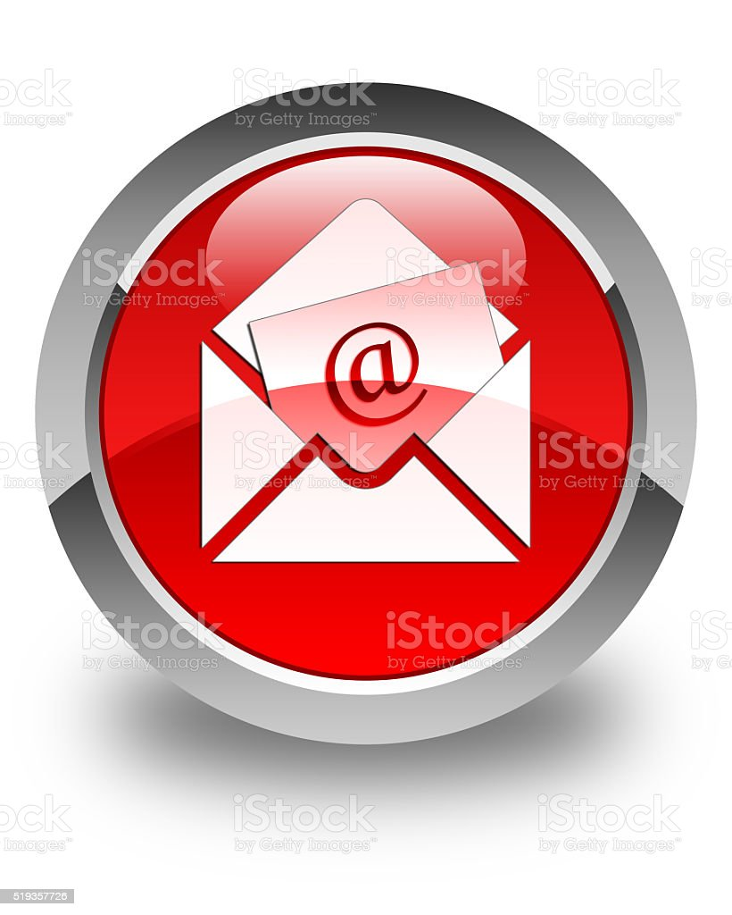 Newsletter email icon glossy red round button stock photo