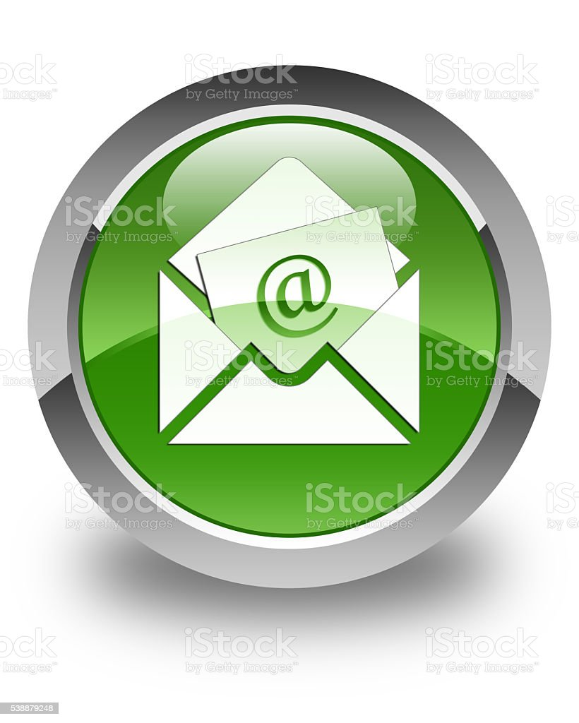 Newsletter email icon glossy soft green round button stock photo