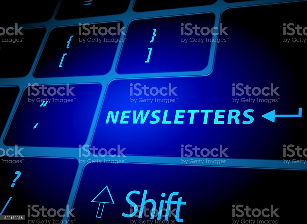 Newsletters button on computer keyboard stock photo