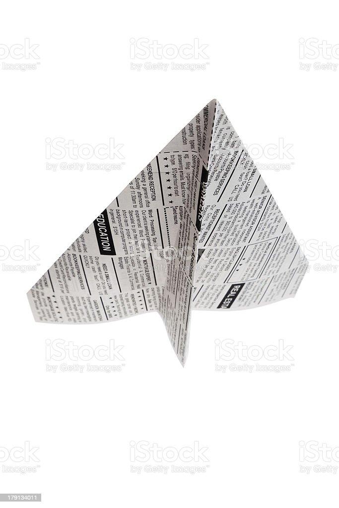 Newspaper Airplane royalty-free stock photo