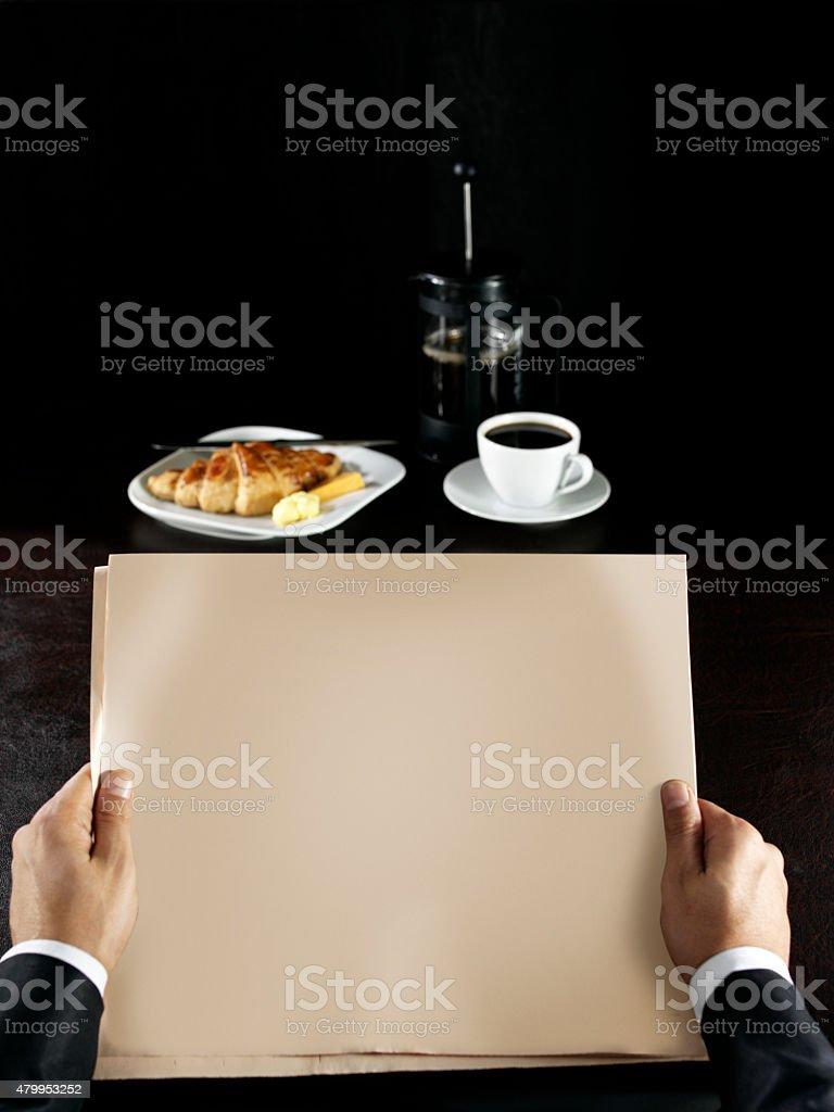 newspaper and  breakfast stock photo