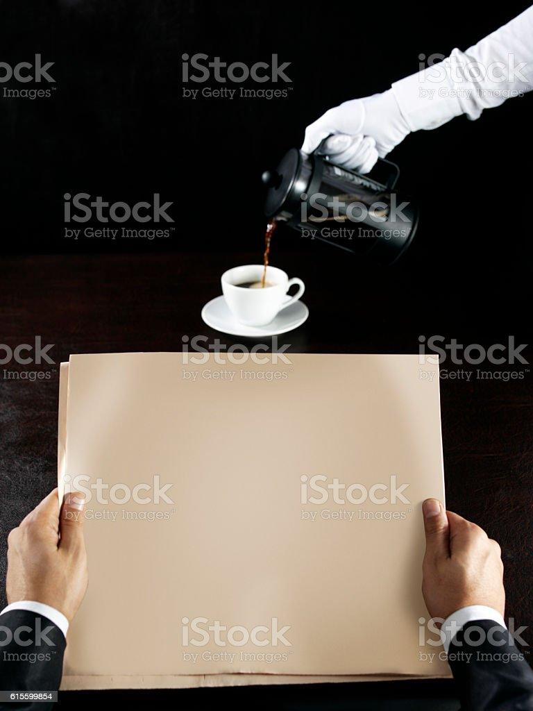 newspaper and coffee stock photo