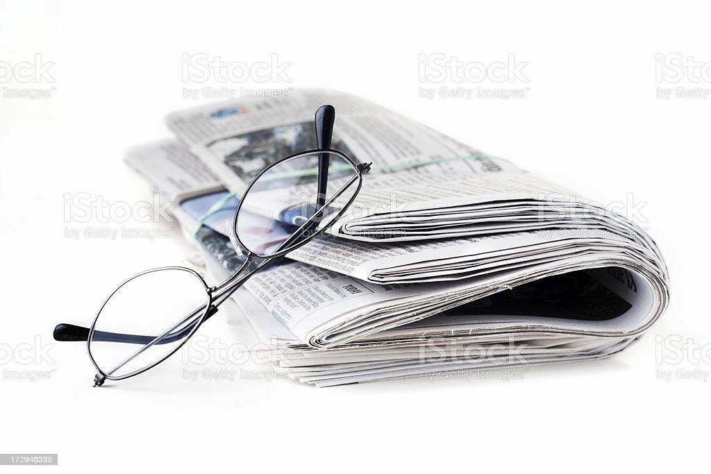 Newspaper and Reading Glasses royalty-free stock photo
