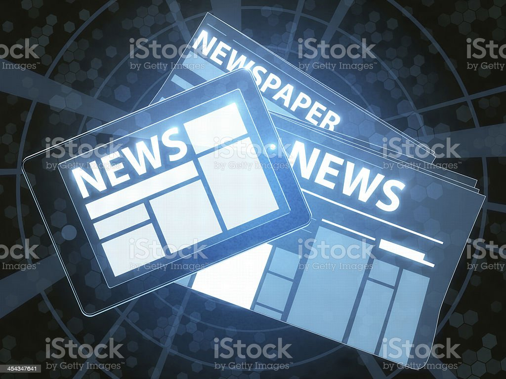 Newspaper And Tablet PC royalty-free stock photo
