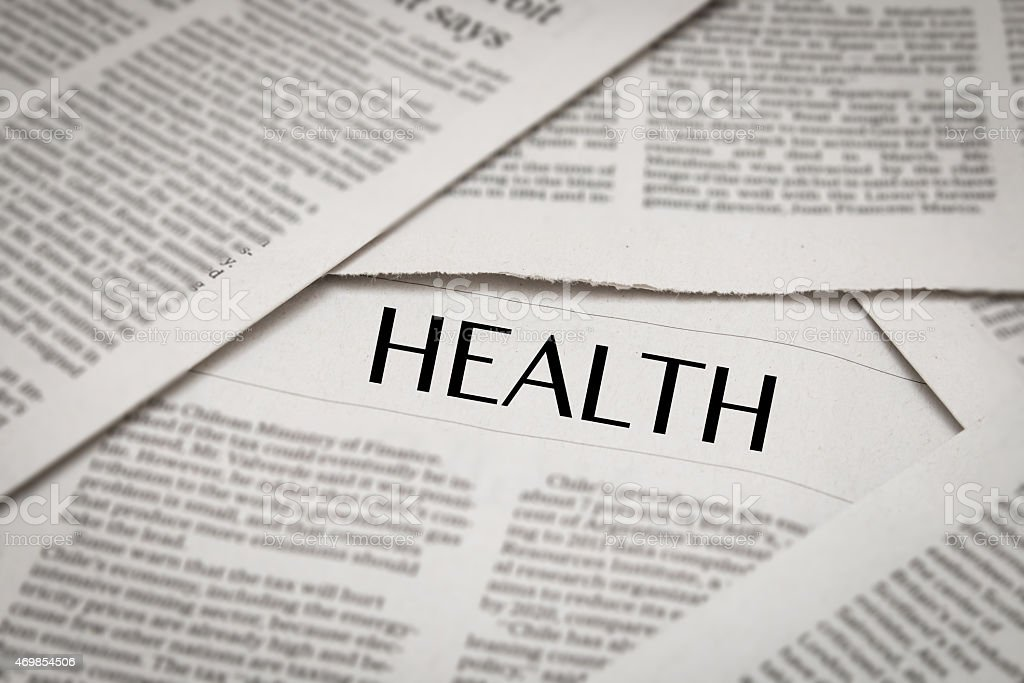 Newspaper articles about health stock photo