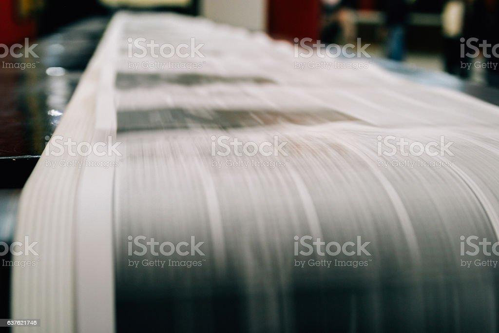 Newspaper being printed stock photo