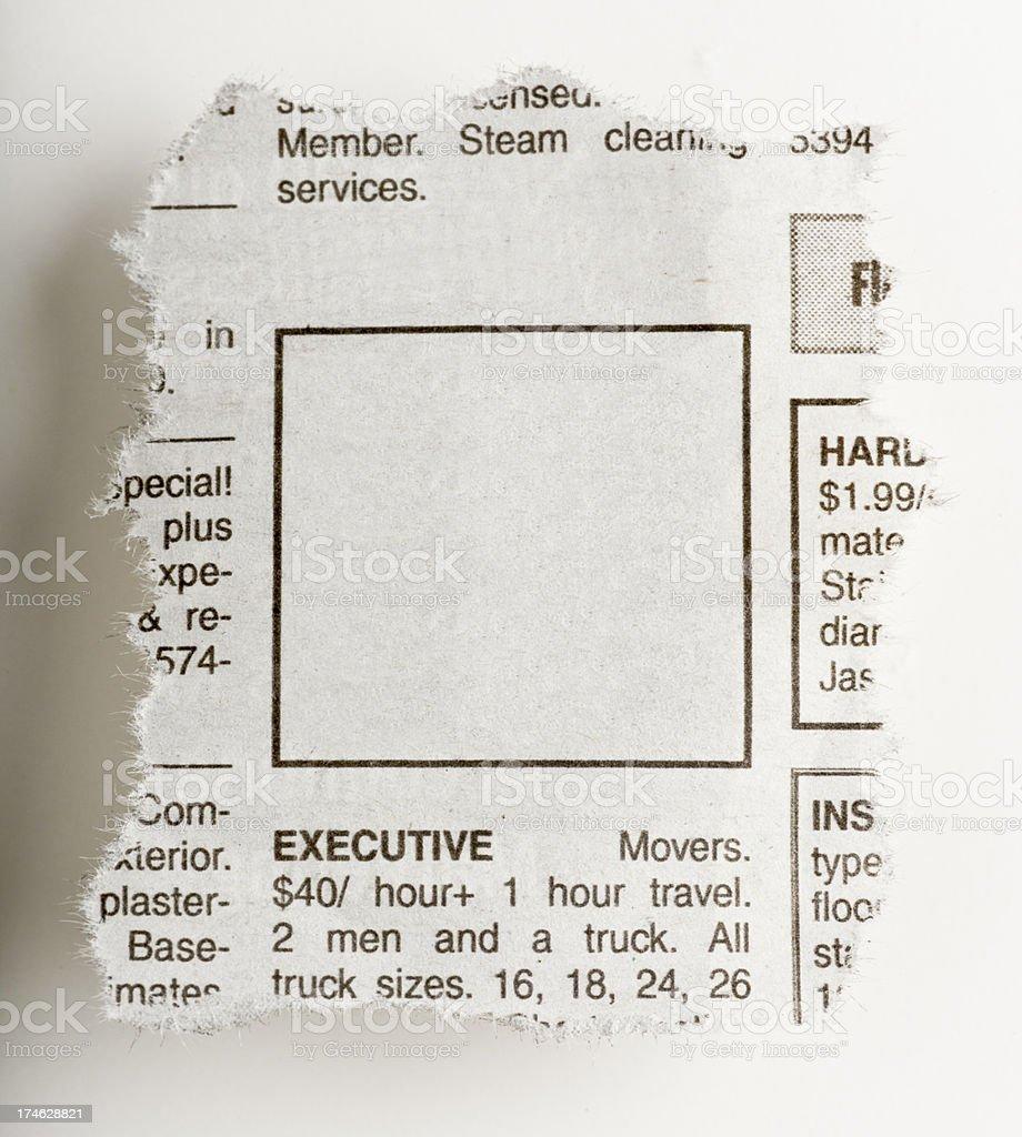 Newspaper blank ad royalty-free stock photo