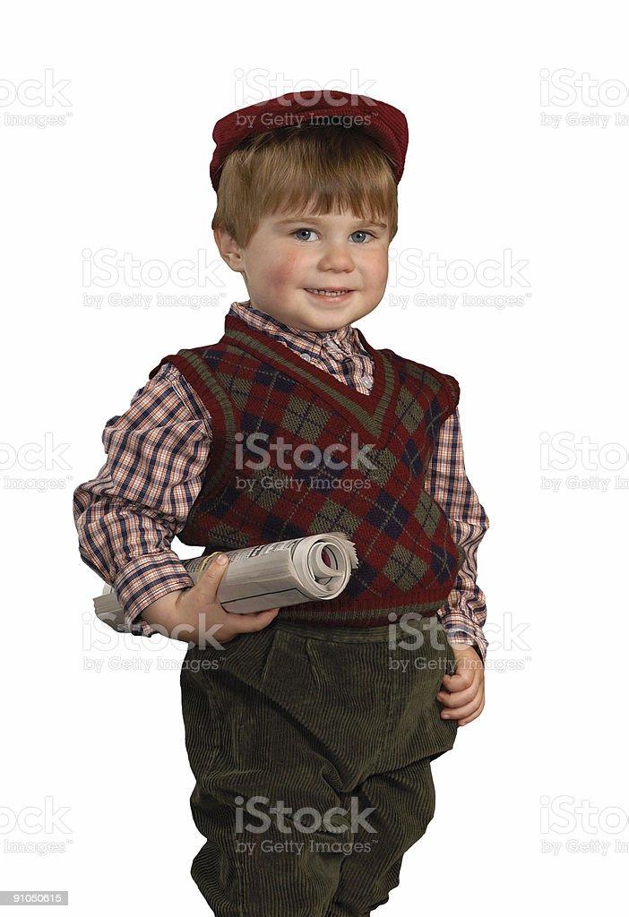Newspaper Boy royalty-free stock photo