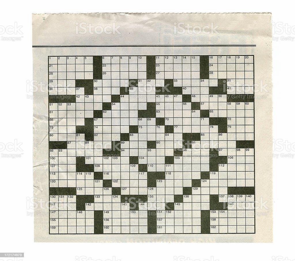 Newspaper Crossword Puzzle royalty-free stock photo