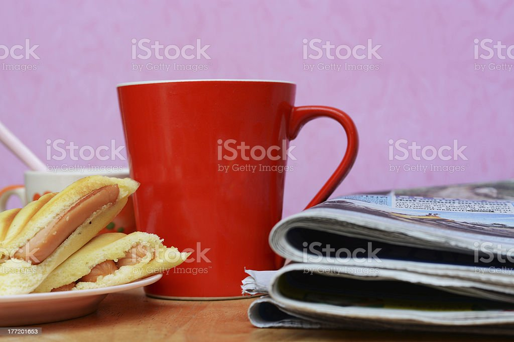 newspaper , Dessert and cup in morning royalty-free stock photo