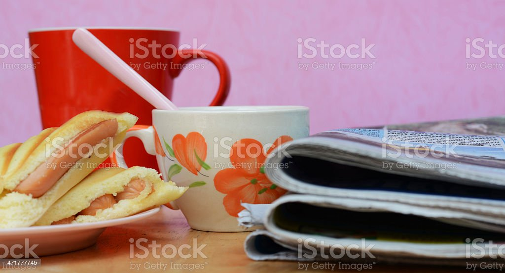 newspaper , Dessert and cup in morning stock photo