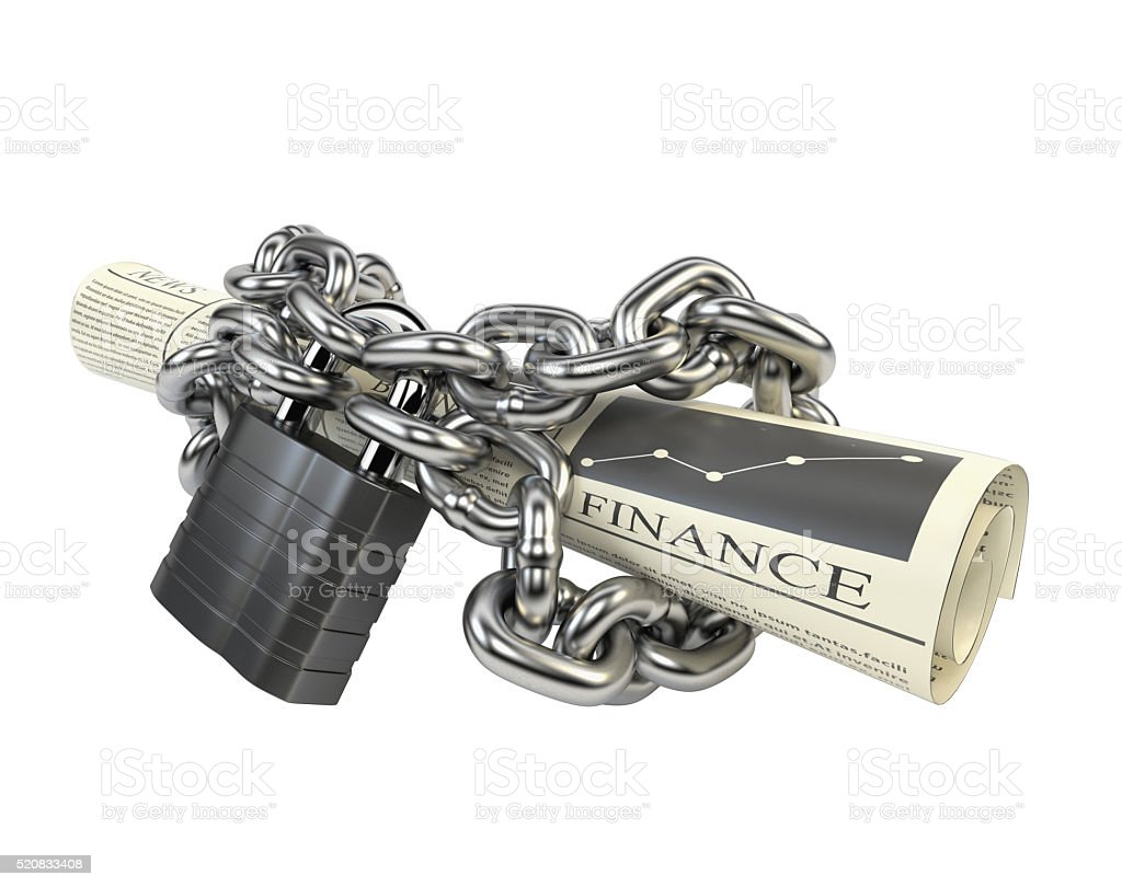 Newspaper fettered chain and padlock, isolated background.3d illustration stock photo