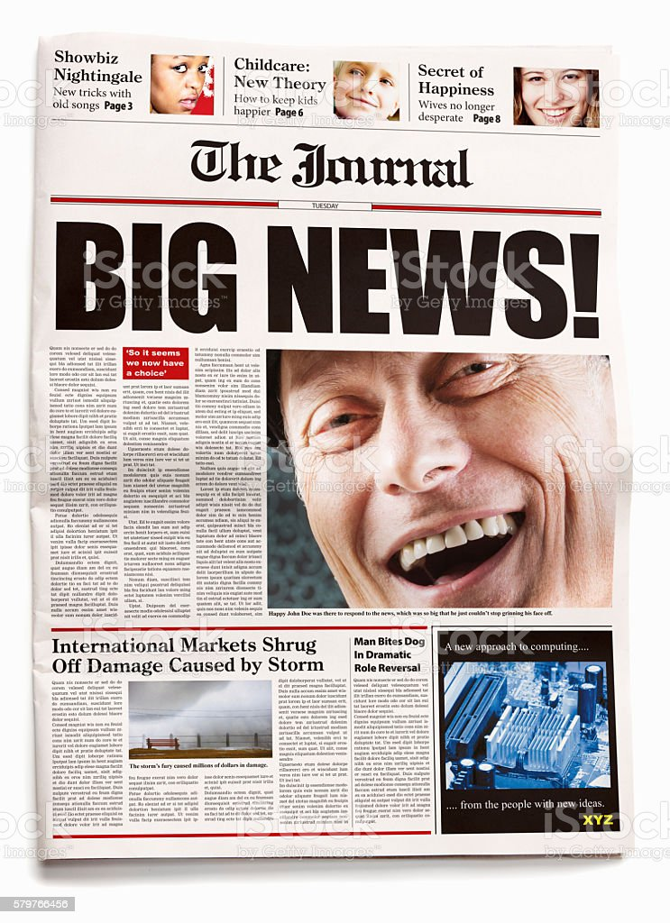 Newspaper front page reads 'BIG NEWS!' with smiling man visual stock photo