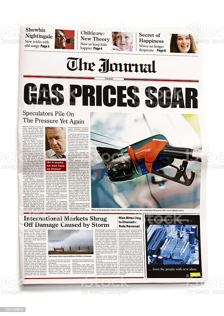 Newspaper: Gas prices soar royalty-free stock photo