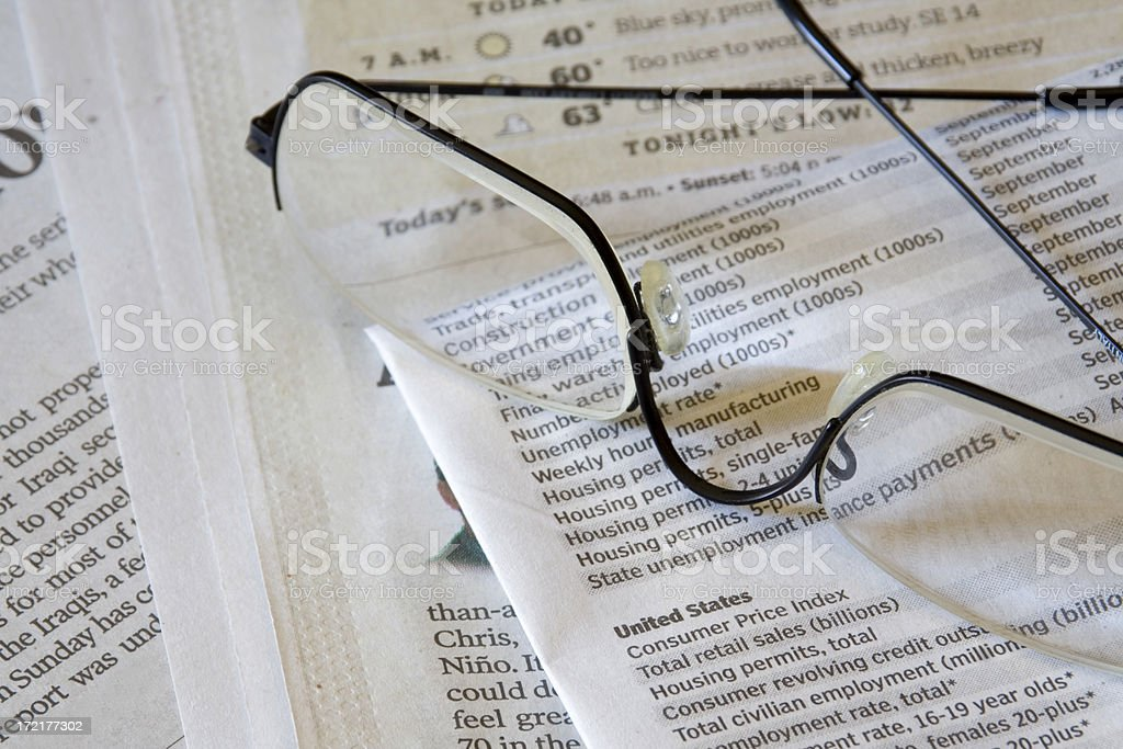 Newspaper & Glasses royalty-free stock photo