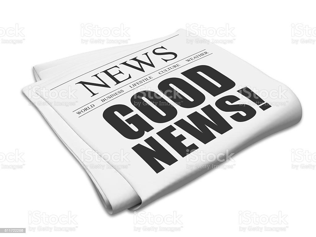 Newspaper good news stock photo