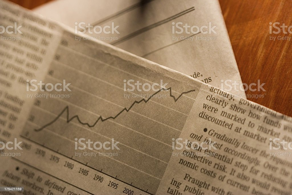 Newspaper graphs royalty-free stock photo