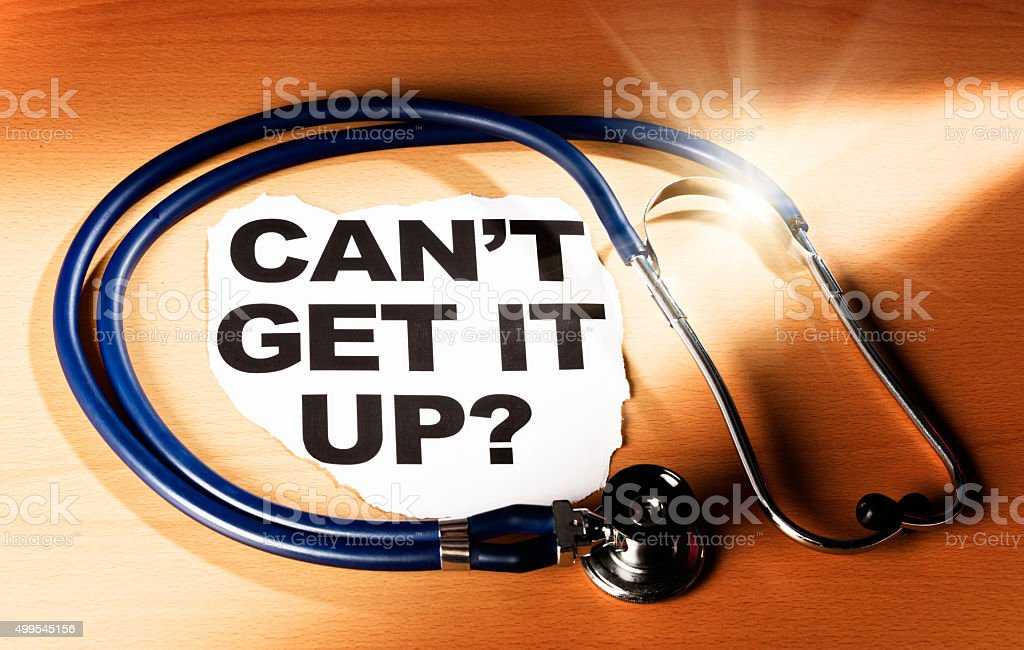 Newspaper headline asks 'Can't get it up?' next to stethoscope stock photo