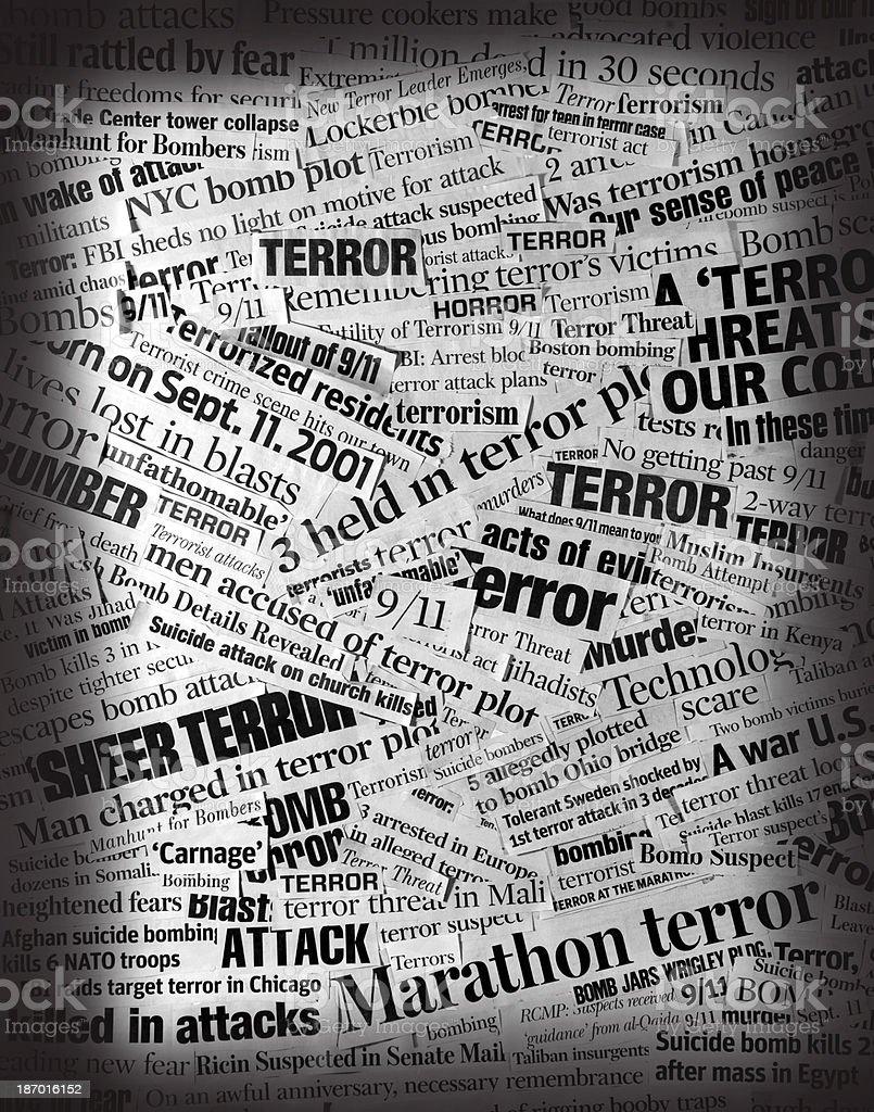 TERROR  Newspaper Headline Collage stock photo