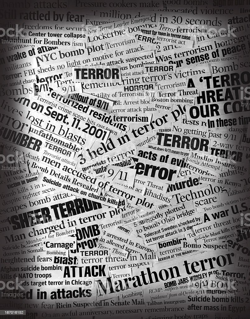 TERROR  Newspaper Headline Collage stock photo