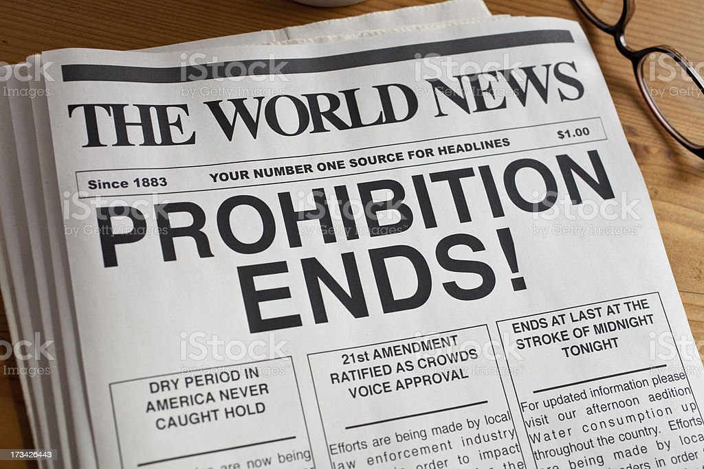 Newspaper headline: Prohibition Ends royalty-free stock photo