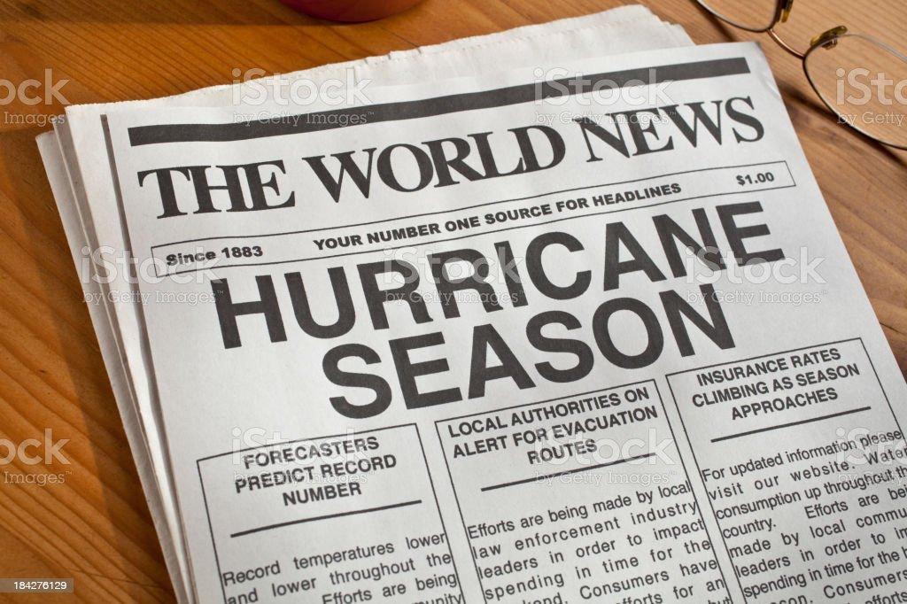 Newspaper headline warning of hurricane season royalty-free stock photo
