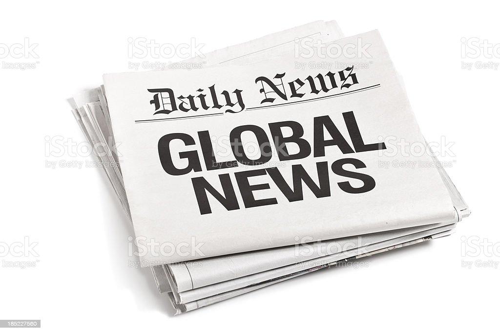 Newspaper Headlines Global News stock photo