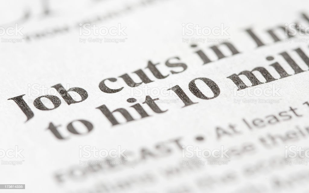Newspaper headlines - Job Cuts royalty-free stock photo