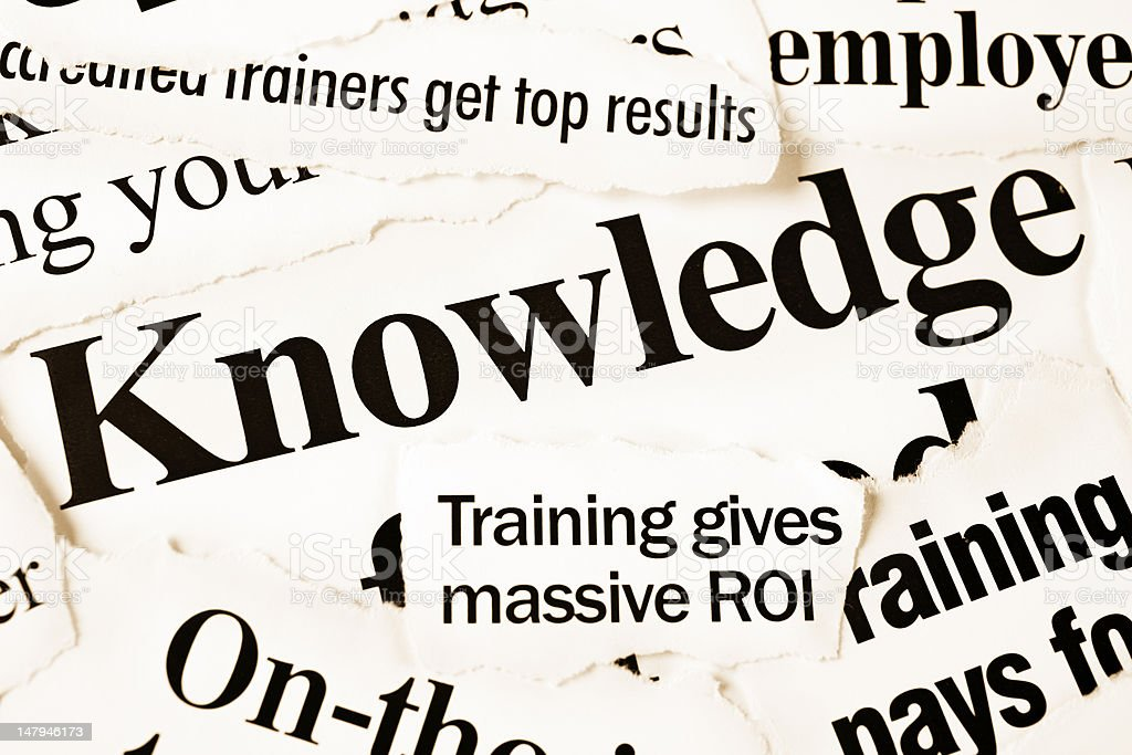 Newspaper headlines on knowledge, training and results royalty-free stock photo