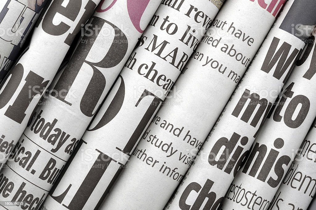 Newspaper headlines stock photo